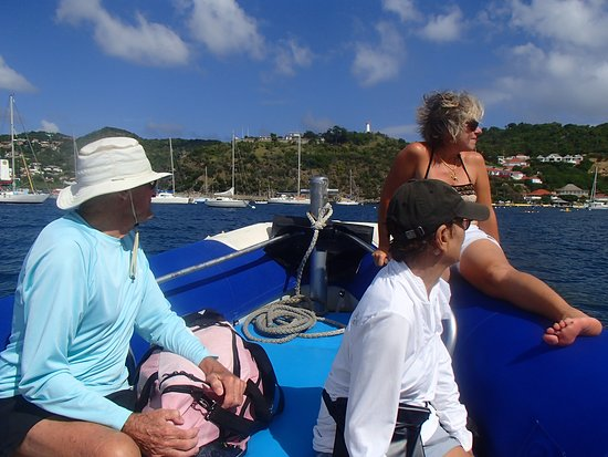Gustavia, San Bartolomé: On the zodiac. Dave, Susan, and Isabelle.