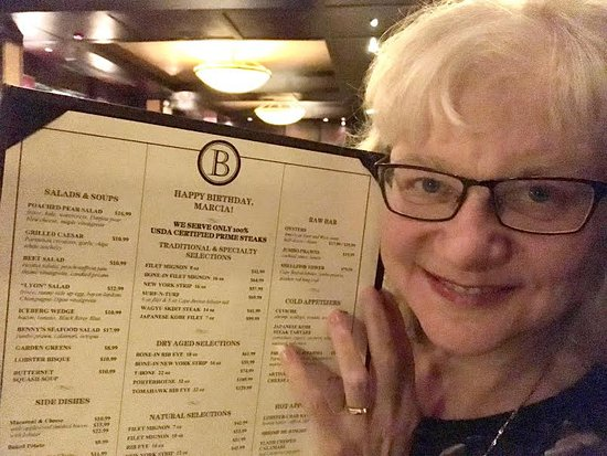 Benny's Chop House: The personalized birthday menu!