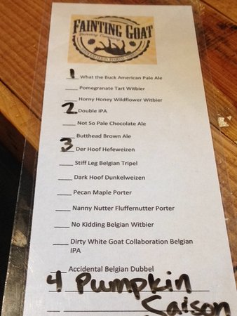 Fainting Goat Brewing Company: Menu Of Beers