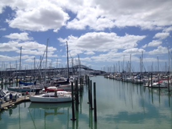 Remuera, Nya Zeeland: Westhaven Marina with Auckland Harbour Bridge in the background
