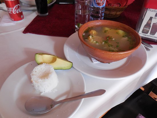 Ciudad Vieja, Гватемала: Rice and avocado that comes with the soup