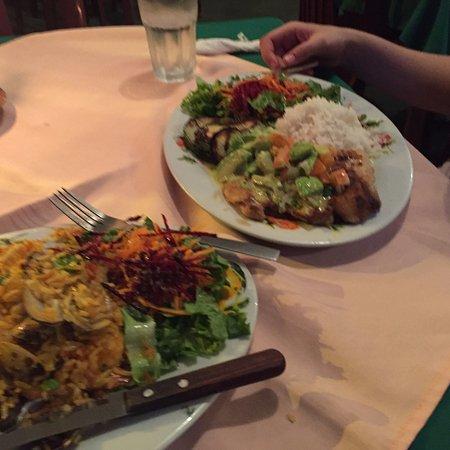 Soda La Naranja: Fish and avocado (on the right) & Rice dish (on the left)