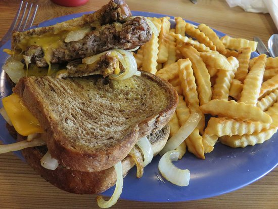 Monroe, TN: 6 oz. Patty Melt sandwich on marbled rye with French Fries
