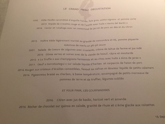 Lasarte, Spain: Le grand menu dégustation