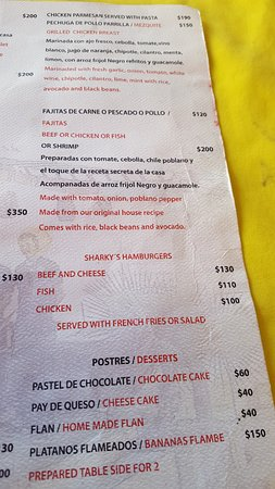 Sharky's Mesquite Grill: menu1