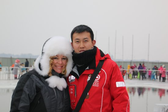 China Culture Tour : Billy-our tour guide in Harbin at the Ice Swimming Exhibition.