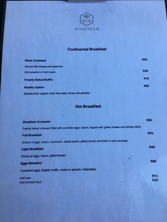 Fourways, Güney Afrika: Breakfast menu