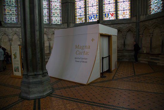 A special tent to protect the Magna Carta at Salisbury Cathedral