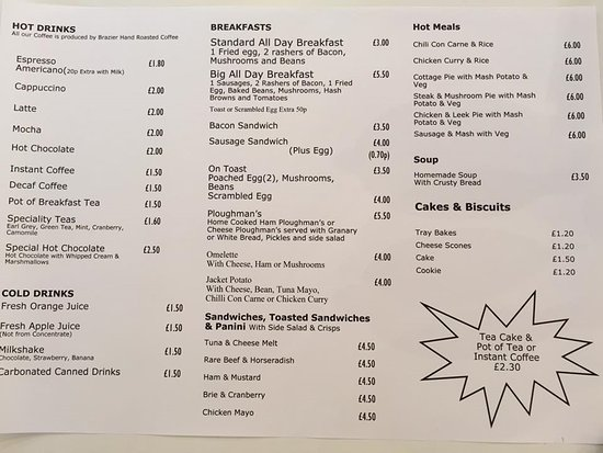 Ilminster, UK: Our new menu