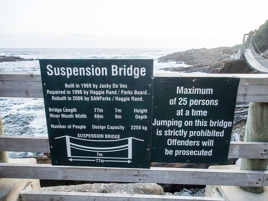 Tsitsikamma National Park, Sydafrika: Schild an der Suspension Bridge