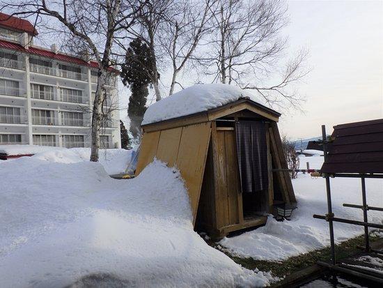 Myoko, Japonia: 中庭の混浴露天風呂「風雪の湯」めっちゃ気持ち良かった~