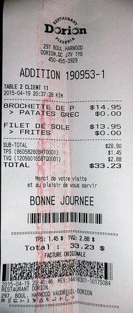 Vaudreuil-Dorion, Canada: Avril 2015 / $33.23 serveuse Kim