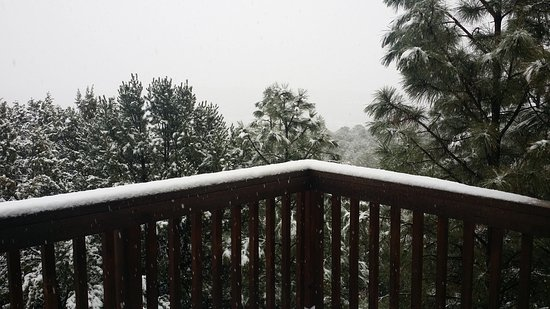 Cedar Crest, NM: View from Sangre de Christo room balcony on a snowy January day.