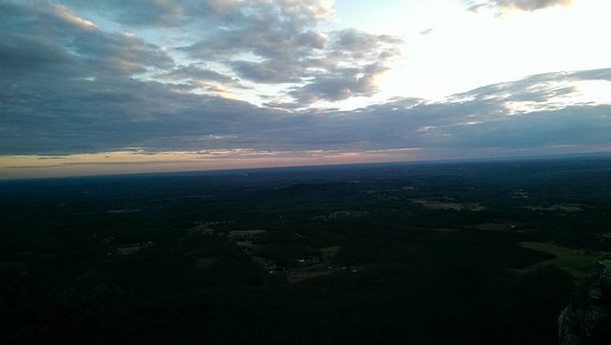 Pilot Mountain, NC: Sunset from Pilot Mt, looking toward Winston Salem NC.