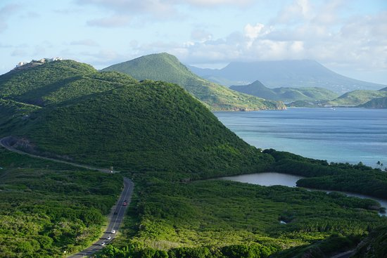 Frigate Bay, St. Kitts: This view is obtained by walking or or driving up the nearby hill by the resort. Nevis in the di
