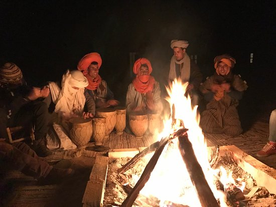 Morocco Active Adventures: Sitting around the campfire in the desert