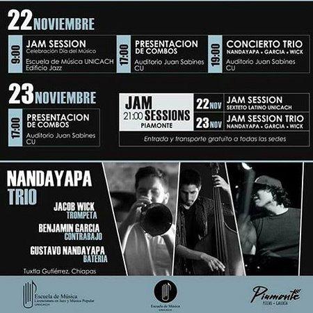 Recordando las JAM de jazz, de la escuela de musica de la UNICACH, ¿Con quién vienes?