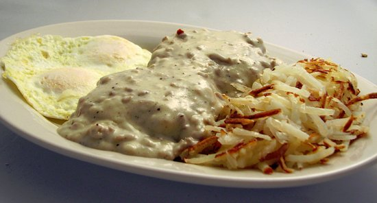 Mishawaka, IN: Sampler Platter - 2 eggs, fresh made biscuits & sausage gravy, & hash browns