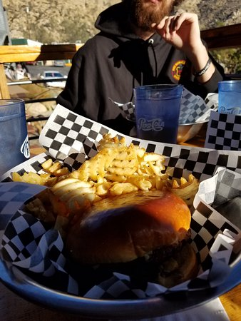 Kernville, CA: Big Blue Mine Burger with Waffle Fries