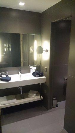 rechterdeel van de badkamer, lavabo en toiletmet afsluitbare deur, Meubels Ideeën