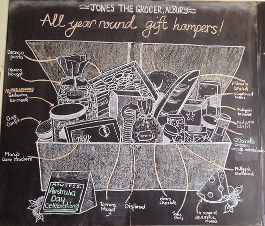 Albury, Australia: A chalk graphic of available provisions