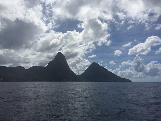 Gros Islet, Saint Lucia: A view of the Pitons from Mango Tango