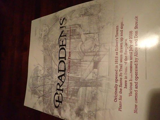 Saint Charles, MO: Front of Bradden's menu