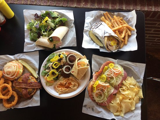 Garland, TX: These pictures show their Turkey Wrap, Mediterranean Platter, Gyro and Fries, Bacon Cheeseburger