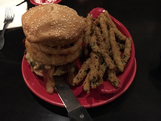 The Villages, FL: Buffalo Bob burger with fries green bean side. Five stars⭐️⭐️⭐️⭐️⭐️