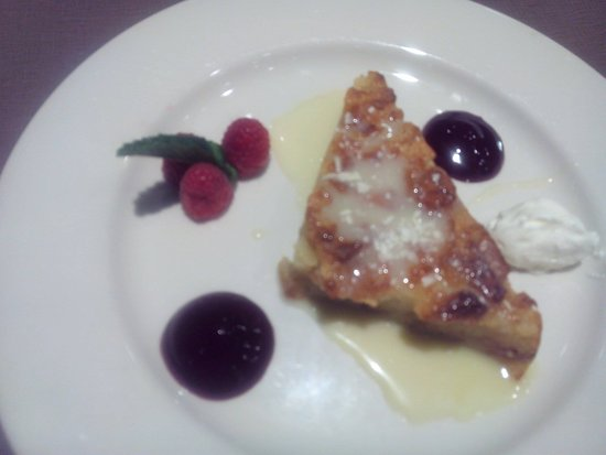 Wauwatosa, WI: White Chocolate Bread Pudding with raspberry puree