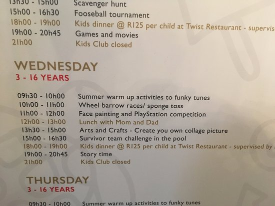 African Pride Mount Grace Country House & Spa : Kids Club schedule