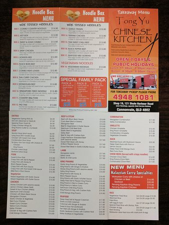 121 Tong Yu Chinese Kitchen Menu Picture Of Tong Yu Cannonvale Tripadvisor