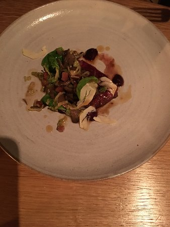 Oldstead, UK: Venison with sprouts (and they were not soggy like at school!)
