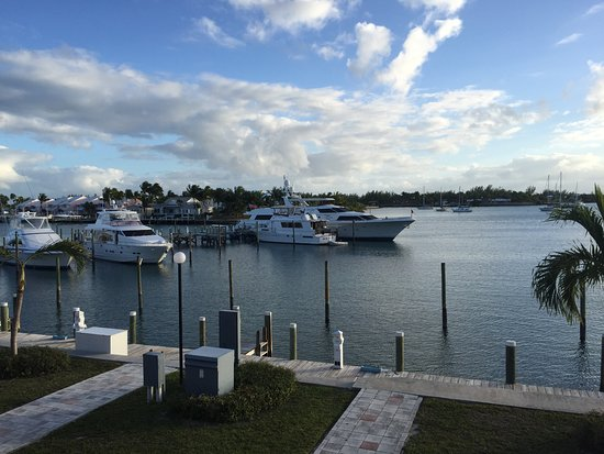 Treasure Cay, Great Abaco Island: View of marina and channel from our room