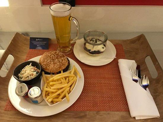 Room Service Burger Picture Of Radisson Blu Hotel