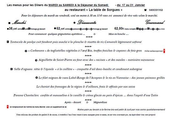 Les MENUS de cette SEMAINE du 17 au 21 Janvier au restaurant La Table de Sorgues