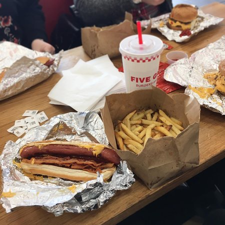 Five Guys Dog With Double Bacon And Double Cheese