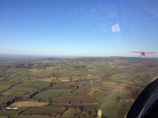 Thirsk, UK: Vale of York seen from the glider; being towed out