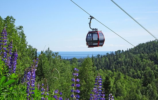 Lutsen, MN: Take the scenic ride on the Summit Express Gondola, walking distance from your room.