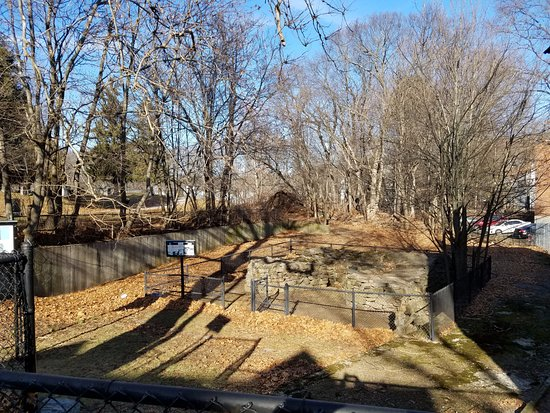 Quincy, MA: The foundation of the blast furnace below street level and just to the left of Furnace Brook
