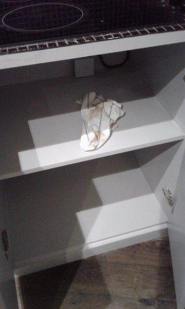 Etterbeek, Bélgica: Torchon a vaisselle sale laisser dans l'armoire par le dame de ménage si on peut dire ça