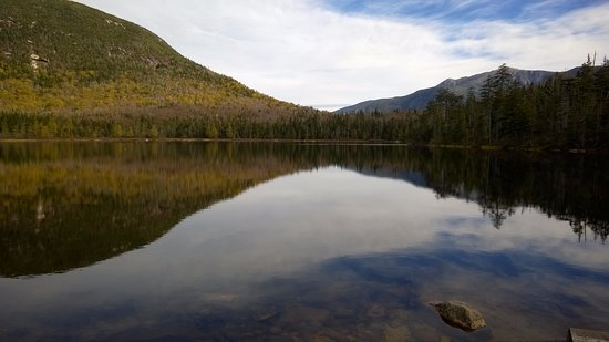 White Mountains, NH: View of Franconia Notch across Lonesome Lake.