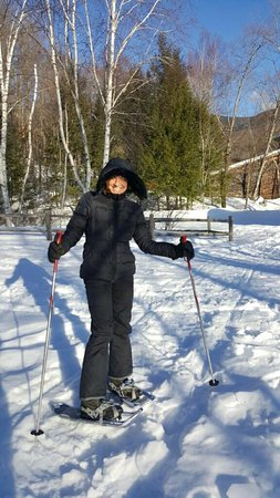 Franconia, Нью-Гэмпшир: my first time snow shoeing