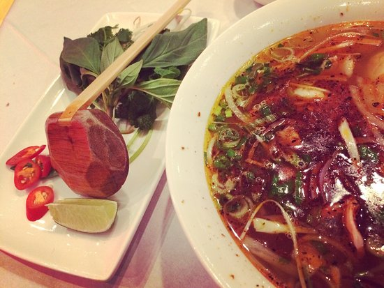 The Best Calamari And Delicious Spicy King Prawn Noodle Soup With Kimchi To Start And A Hanoi B Picture Of Pho Saigon London Tripadvisor