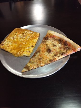 Howell, NJ: Vodka sauce corner and a sausage slice, both excellent!