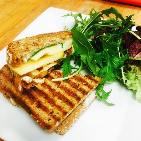 Idyllwild, CA: Vegan grilled cheeze with Apple, Vegan Provolone, Arugula, Caramelized Onion, Garlic Sauce & Bal