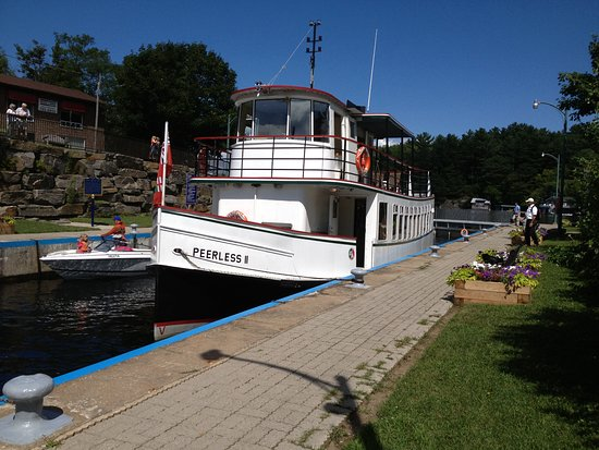 Sunset Cruises - Peerless II in lock chamber at Port Carling.