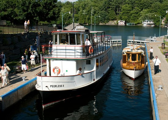 Sunset Cruises fleet Peerless II & Idyllwood in the Port Carling lock chamber.