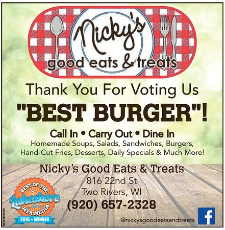 Two Rivers, WI: Voted Best of The Lakeshore for Burgers! We thank you!