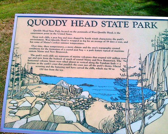 Lubec, Мэн: Sign at Quoddy Head State Park, Maine